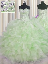 Custom Made Green Sweetheart Lace Up Beading and Ruffles Quinceanera Dresses Sleeveless