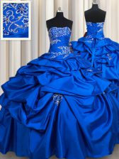 Extravagant Strapless Sleeveless Taffeta Quinceanera Dress Beading and Pick Ups Lace Up