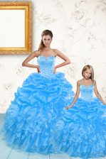 Organza Sleeveless Floor Length Sweet 16 Quinceanera Dress and Beading and Ruffles and Pick Ups