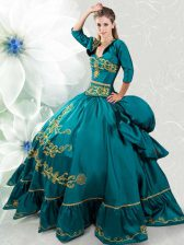 Sweetheart Sleeveless Sweet 16 Quinceanera Dress Floor Length Beading and Embroidery Teal Taffeta