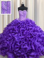 Visible Boning Lavender Lace Up Ball Gown Prom Dress Beading and Ruffles Sleeveless Floor Length
