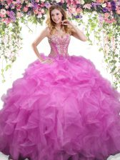 Elegant Sweetheart Sleeveless Organza Sweet 16 Quinceanera Dress Beading and Ruffles Lace Up