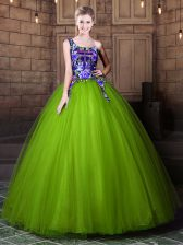 On Sale Olive Green Lace Up One Shoulder Pattern Sweet 16 Dress Tulle Sleeveless