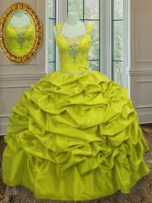 Super Straps Sleeveless Floor Length Beading and Pick Ups Lace Up Sweet 16 Quinceanera Dress with Yellow Green