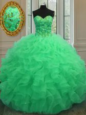 Sweetheart Sleeveless Lace Up Quince Ball Gowns Green Organza