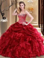 Lovely Red Sleeveless Floor Length Beading and Pick Ups Lace Up Quince Ball Gowns