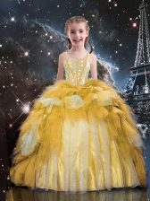 Gold Ball Gowns Spaghetti Straps Sleeveless Tulle Floor Length Lace Up Beading and Ruffled Layers Little Girl Pageant Gowns