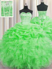 Visible Boning Floor Length Green Sweet 16 Dresses Organza Sleeveless Beading and Ruffles and Pick Ups