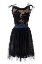 Black Prom Dresses Prom with Hand Made Flower Scoop Sleeveless Backless