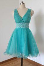 Custom Made Aqua Blue Tulle Criss Cross V-neck Sleeveless Knee Length Prom Dresses Beading
