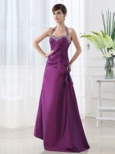 Halter Top Satin Sleeveless Floor Length Prom Gown and Beading and Ruching