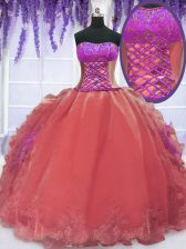 High Class Watermelon Red Organza Lace Up Strapless Sleeveless Floor Length Ball Gown Prom Dress Embroidery and Ruffles