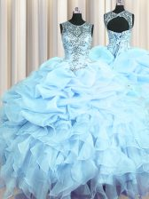 Adorable Scoop See Through Light Blue Sleeveless Beading and Ruffles and Pick Ups Floor Length Quinceanera Dress