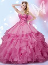 Excellent Sweetheart Sleeveless Quinceanera Dresses Floor Length Beading Rose Pink Organza