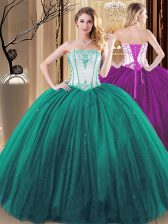 Strapless Sleeveless Tulle and Sequined Quinceanera Dress Embroidery Lace Up