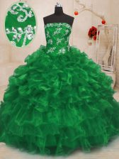 Simple Floor Length Green 15 Quinceanera Dress Organza Sleeveless Beading and Appliques and Ruffles