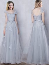 Scoop Grey Empire Lace and Appliques and Belt Damas Dress Lace Up Tulle Cap Sleeves Floor Length