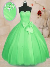 Shining Sweetheart Lace Up Beading and Bowknot Quince Ball Gowns Sleeveless