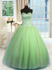 Stylish Green Sweetheart Neckline Beading and Ruching Quince Ball Gowns Sleeveless Lace Up