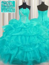 Exquisite Sleeveless Beading and Ruffled Layers and Pick Ups Lace Up 15 Quinceanera Dress
