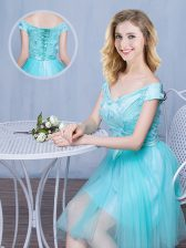 Off the Shoulder Knee Length Empire Cap Sleeves Aqua Blue Quinceanera Court of Honor Dress Lace Up