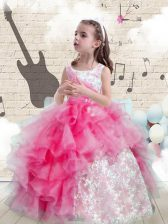 Scoop Organza Sleeveless Floor Length Girls Pageant Dresses and Beading and Ruffles