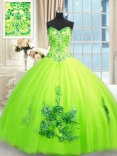 Sumptuous Floor Length Yellow Green Quince Ball Gowns Sweetheart Sleeveless Lace Up
