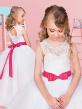 Charming Scoop Sleeveless Lace Up Floor Length Lace and Bowknot Flower Girl Dresses for Less