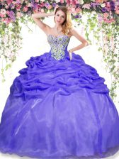 New Style Lavender Ball Gown Prom Dress Military Ball and Sweet 16 and Quinceanera with Beading and Pick Ups Sweetheart Sleeveless Lace Up