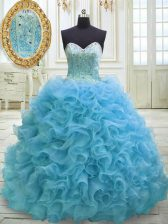 Stunning Baby Blue Ball Gowns Beading and Sequins 15th Birthday Dress Lace Up Organza Sleeveless