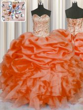 Luxurious Sweetheart Sleeveless Organza Quinceanera Gowns Beading and Ruffles and Pick Ups Lace Up
