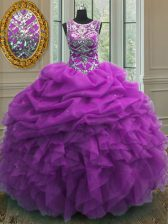Scoop Purple Lace Up Sweet 16 Quinceanera Dress Beading and Ruffles and Pick Ups Sleeveless Floor Length