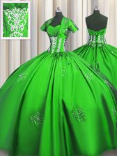 Simple Sweetheart Short Sleeves Lace Up 15th Birthday Dress Taffeta