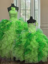 Custom Design Sleeveless Organza Floor Length Lace Up Quinceanera Gown in Multi-color with Beading and Ruffles