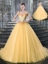 Comfortable Straps Gold Tulle Lace Up Quinceanera Dresses Sleeveless With Brush Train Beading