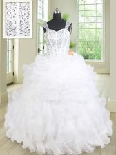 White Ball Gowns Straps Sleeveless Organza Floor Length Lace Up Beading and Ruffles Quinceanera Gowns