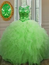 New Arrival Quinceanera Dresses Military Ball and Sweet 16 and Quinceanera with Beading and Ruffles Scoop Sleeveless Lace Up
