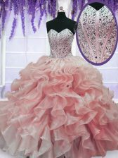 Sweetheart Sleeveless Quinceanera Dress Floor Length Beading and Ruffles Watermelon Red Organza