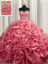Fashion Watermelon Red Lace Up Sweetheart Beading and Pick Ups 15 Quinceanera Dress Organza Sleeveless Court Train