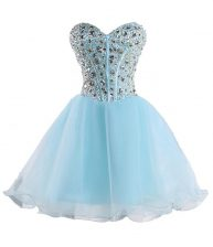 Baby Blue Ball Gowns Beading Lace Up Organza Sleeveless Mini Length