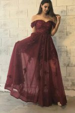 Sumptuous Off the Shoulder Short Sleeves Tulle Floor Length Zipper in Burgundy with Appliques