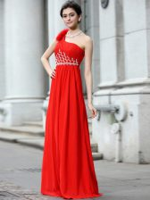 Extravagant Coral Red Column/Sheath Chiffon One Shoulder Sleeveless Beading and Ruching Floor Length Zipper Prom Gown