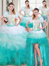 Four Piece Multi-color Sweet 16 Dress Military Ball and Sweet 16 and Quinceanera with Beading and Appliques and Ruffles Sweetheart Sleeveless Lace Up