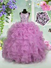 Scoop Organza Sleeveless Floor Length Little Girl Pageant Gowns and Ruffles and Sequins