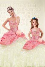 Sleeveless Floor Length Beading and Ruffled Layers and Hand Made Flower Lace Up Ball Gown Prom Dress with Pink
