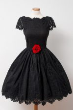 Lace Black Prom Dresses Prom and Party with Hand Made Flower Bateau Cap Sleeves Backless