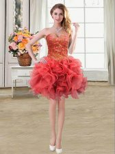 Coral Red Ball Gowns Sweetheart Sleeveless Organza Mini Length Lace Up Beading and Ruffles Prom Gown