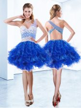 Vintage One Shoulder Sleeveless Organza Knee Length Criss Cross Homecoming Dress in Royal Blue with Beading and Ruffles