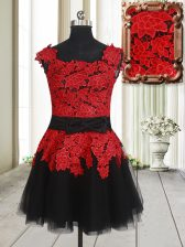 Suitable Square Red And Black Sleeveless Mini Length Appliques Zipper Prom Party Dress
