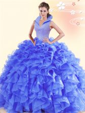 Ideal Sleeveless Backless Floor Length Beading and Ruffles Quinceanera Dress
